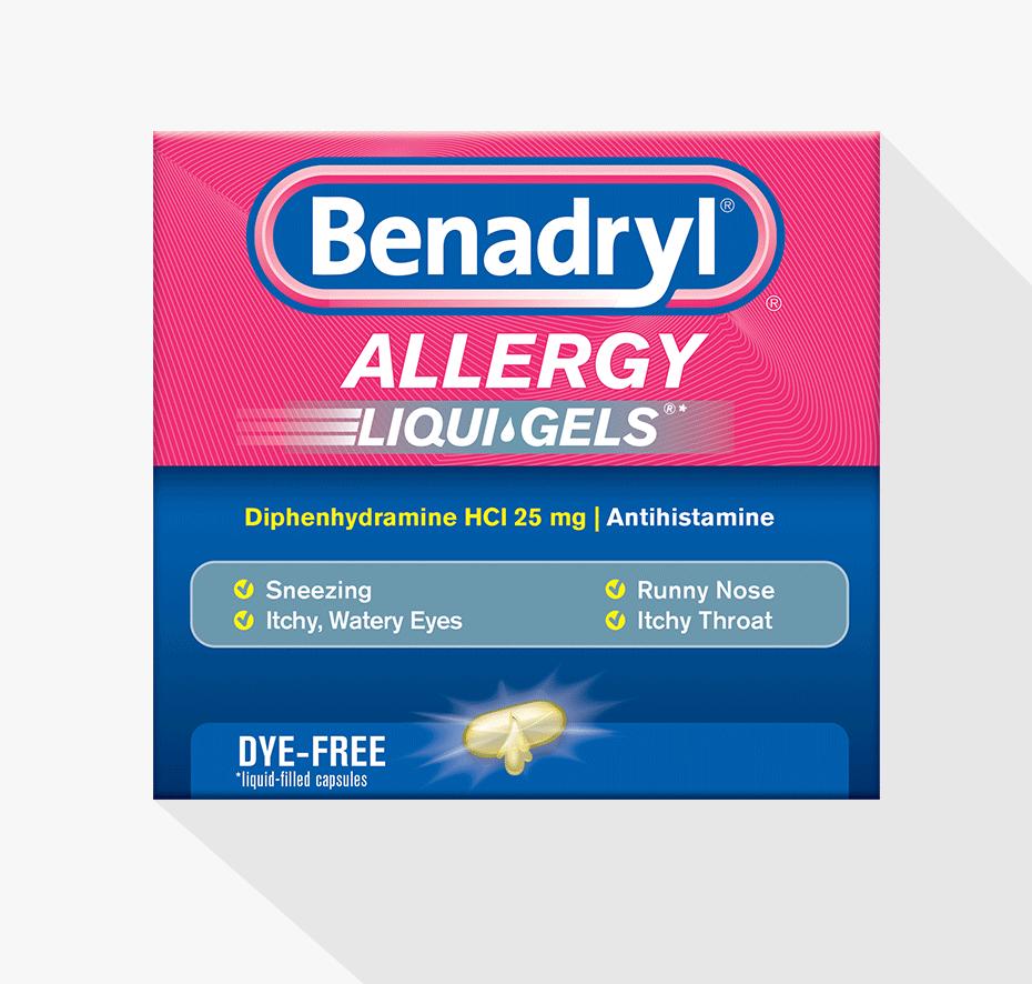 BENADRYL® Allergy Dye-Free LIQUI-GELS® | BENADRYL®
