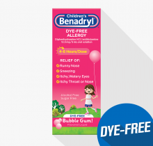 Children's BENADRYL® Dye-Free Allergy Liquid bubble gum flavor