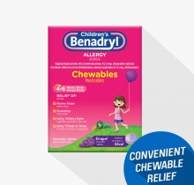 Children's BENADRYL® Grape Flavored Chewable Tablets