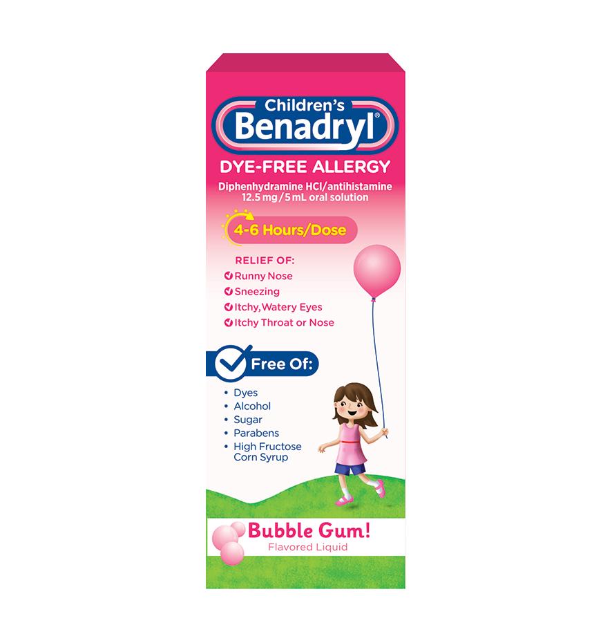 Children's BENADRYL® Dye-Free Allergy Liquid bubble gum flavor