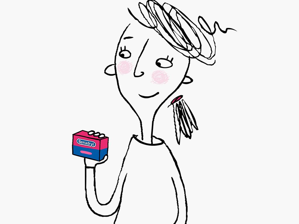 niña de caricatura con un productoBENADRYL® y sonriendo